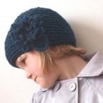 Bonnet Cloud tricoté main bleu