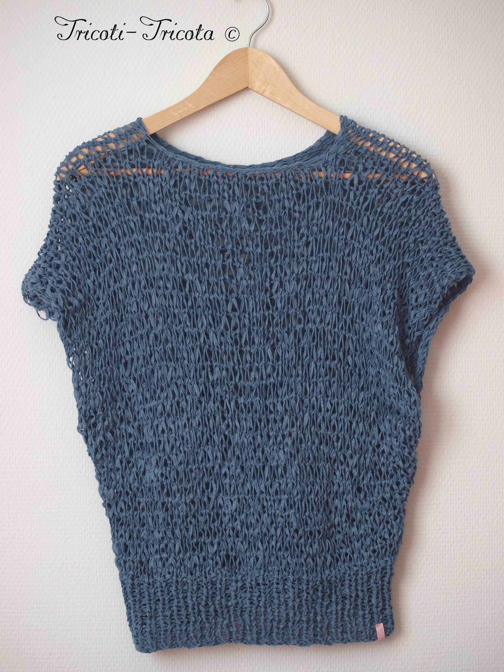 pull r sille bleu denim tricot main tricoti tricota. Black Bedroom Furniture Sets. Home Design Ideas