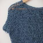 pull ajouré bleu denim tricoté main