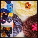 Broches fleurs en tricot